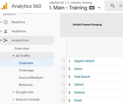 Screenshot of google channels report menu