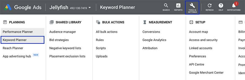 Finding the Google Keyword Planner in Google Ads