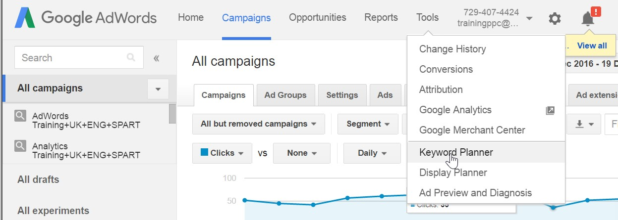 How to find the keyword planner within the Ads interface