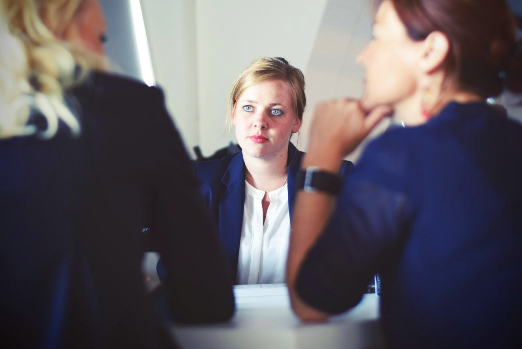 A woman in an interview