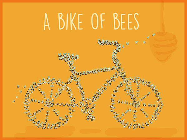 a bike of bees illustration