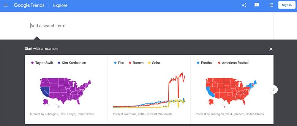 Google Trends explorer tool