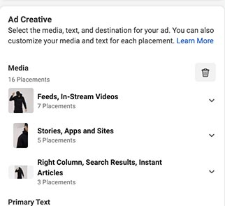 Screenshot of Facebook ad creative options