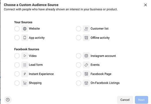 Screenshot of Facebook custom audiences