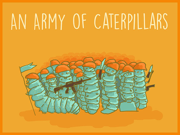 An army of caterpillars illustration