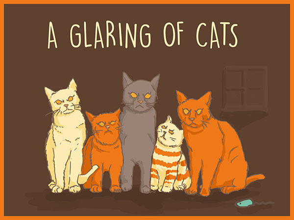 A glaring of cats illustration
