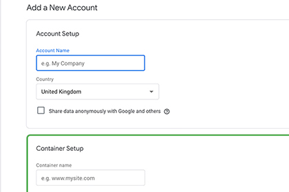 Set up Google Tag Manager screenshot