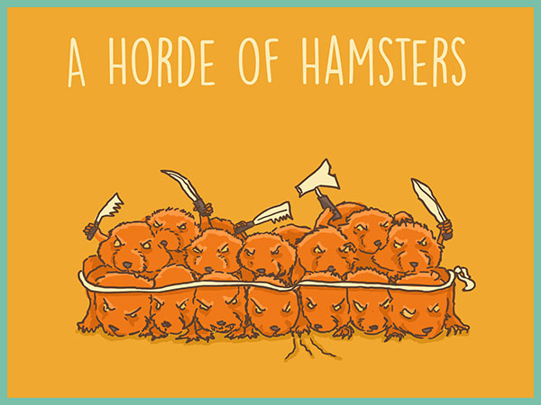 A horde of hamsters illustration