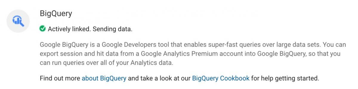 how to actively link big query to analytics