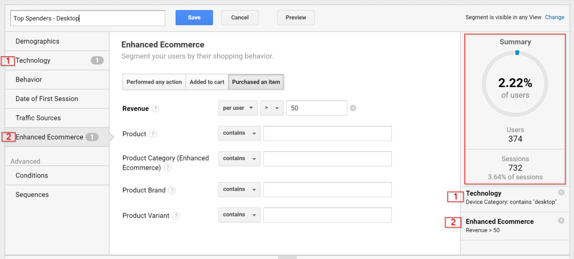 Enhanced Ecommerce screengrab