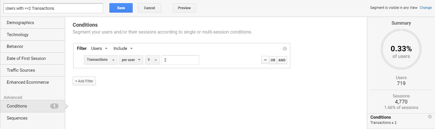 Screengrab of conditions in Google Analytics
