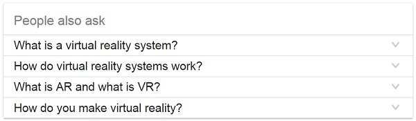 Example of a People also ask search feature for the phrase Virtual reality