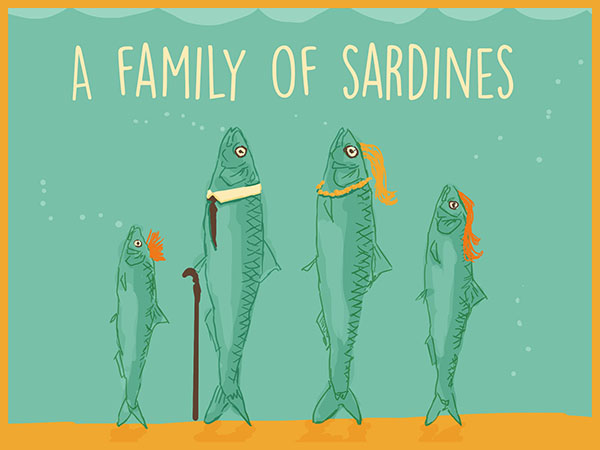 a family of sardines illustration