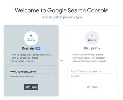 Add Domain to Search Console