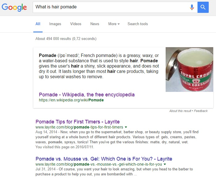 Google question based search example with featured snippet