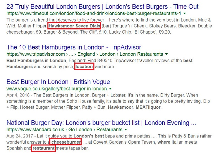 google search displaying related phrases