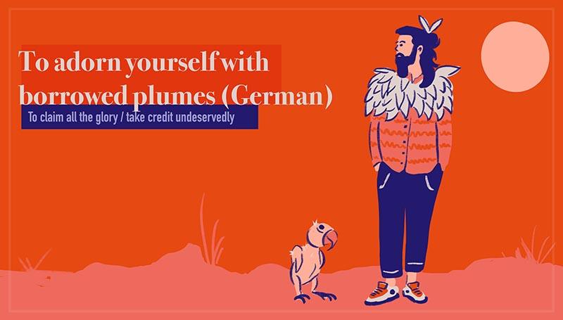 To adorn yourself with borrowed plumes - Sich mit fremden Federn schmücken (German)