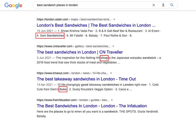 SERP result example