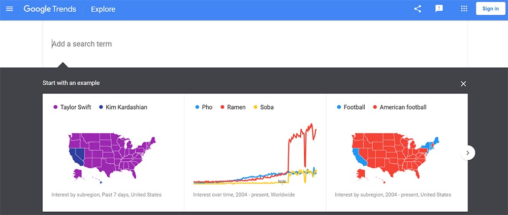 Google Trends explorer tool