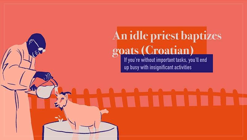 An idle priest baptizes goats - Besposlen pop i jariće krsti (Croatian)