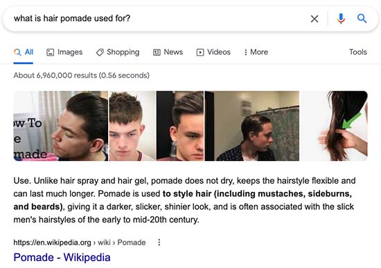 Featured snippet search example: What is hair pomade used for?