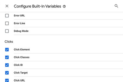 Enable built-in click variables screenshot