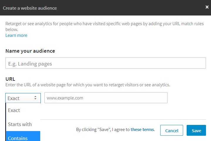Create a LinkedIn website audience