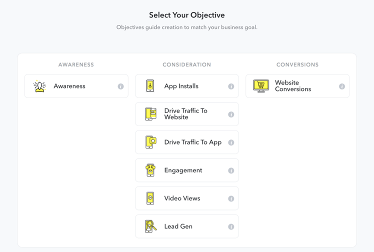 Snapchat Objective Setting