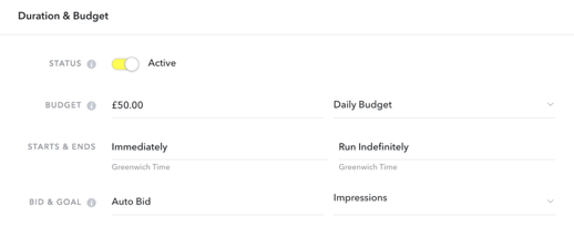Snapchat Duration & Budget