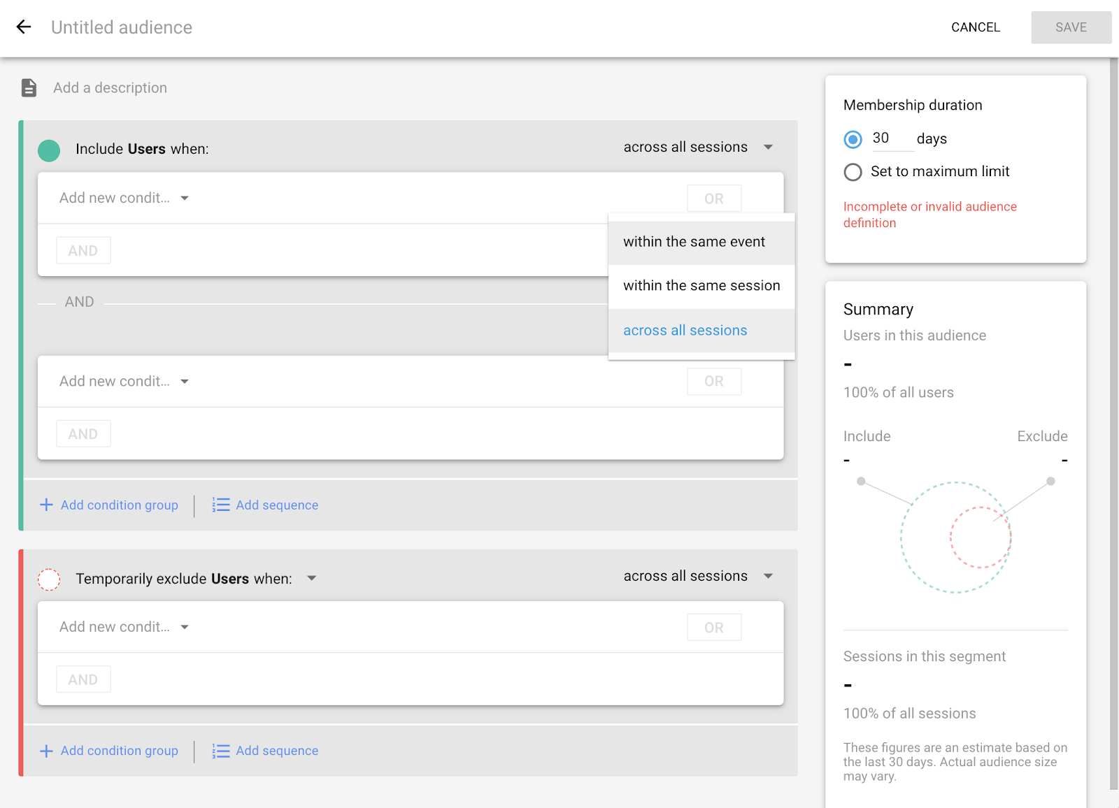 Screenshot of audience/segment builder