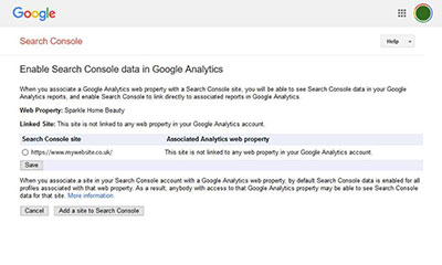enable Search Console dats in Google Analytics screenshot