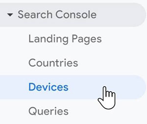 Search Console Devices in Analytics