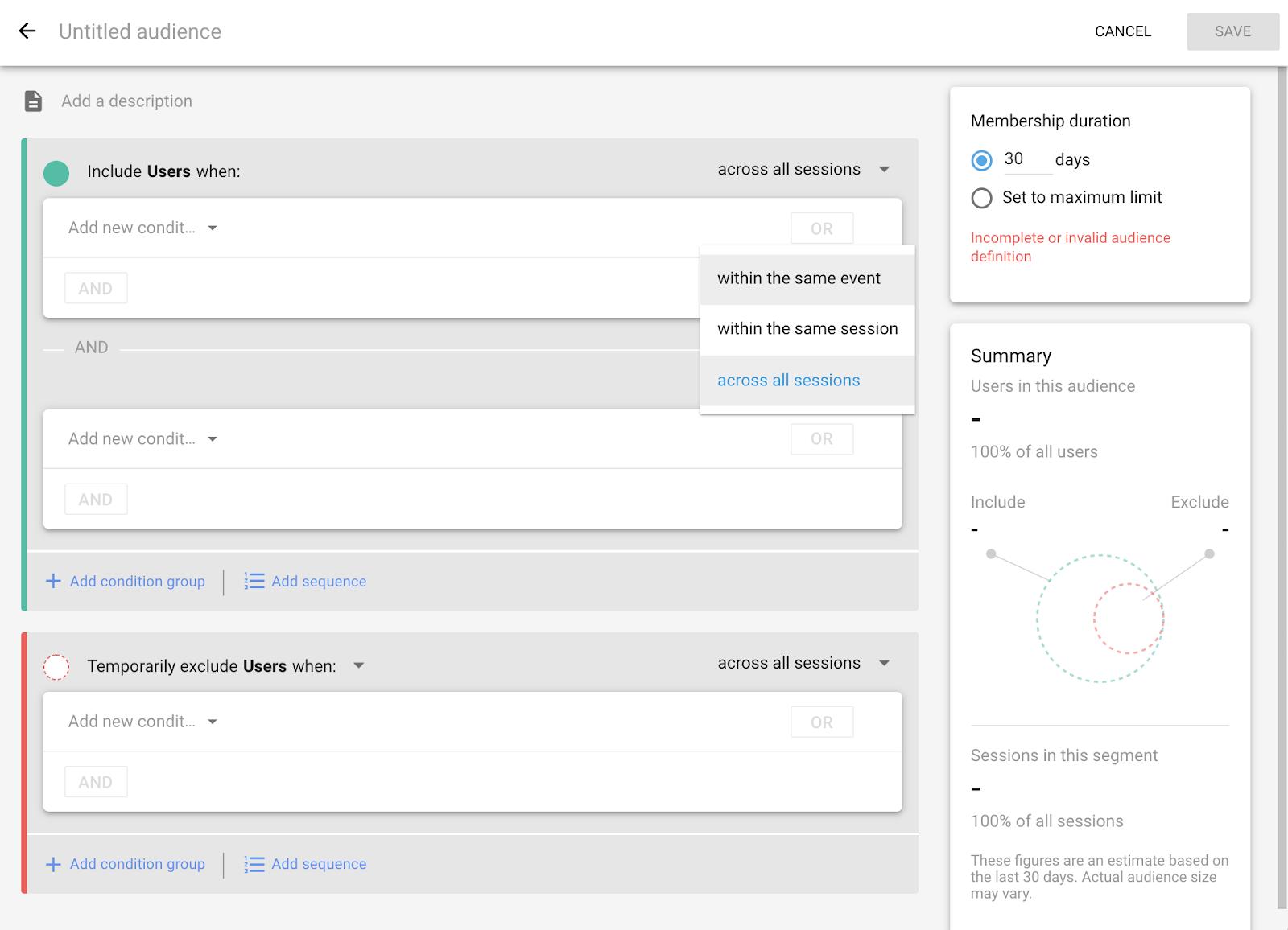 Screenshot of audience/segment builder