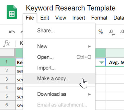 How to make a copy of the free Jellyfish keyword research template