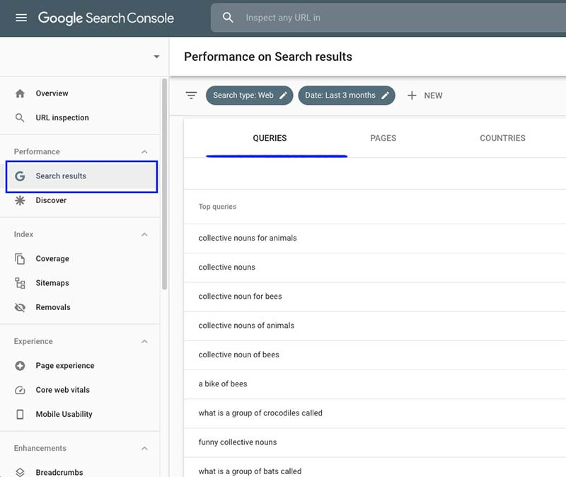 Finding keyword ideas in Google Search console